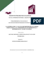 Insttituto Politcnico Nacional-justificacion y Calculo de Indiviso Unidad Habitacional-Valor Catastral