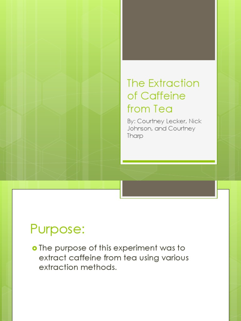 The Extraction Of Caffeine From Tea Ppt Caffeine Cellulose