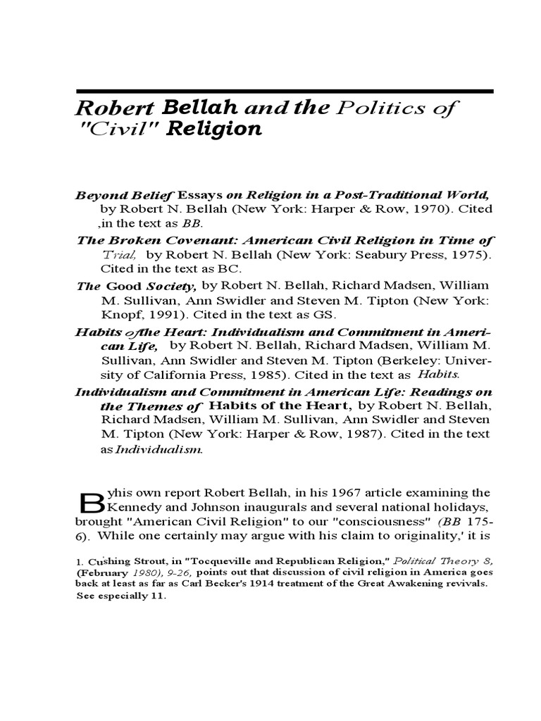 rhetorical analysis of robert bellahs civil religion Bibliography robert n bellah  response to the panel on civil religion, and comment on `bellah and the new civil religion, sociological analysis.