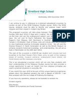 London Parent Letter