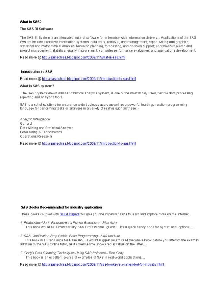 Learn Sas Programming Sas Software Computing