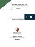Intervención en La Ploblación de La Facultad de Psicología de La Universidad de La Costa Para Promover La Cultura Ciudadana Dentro de La Institución
