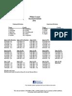 2014 Midget League Baseball Schedule