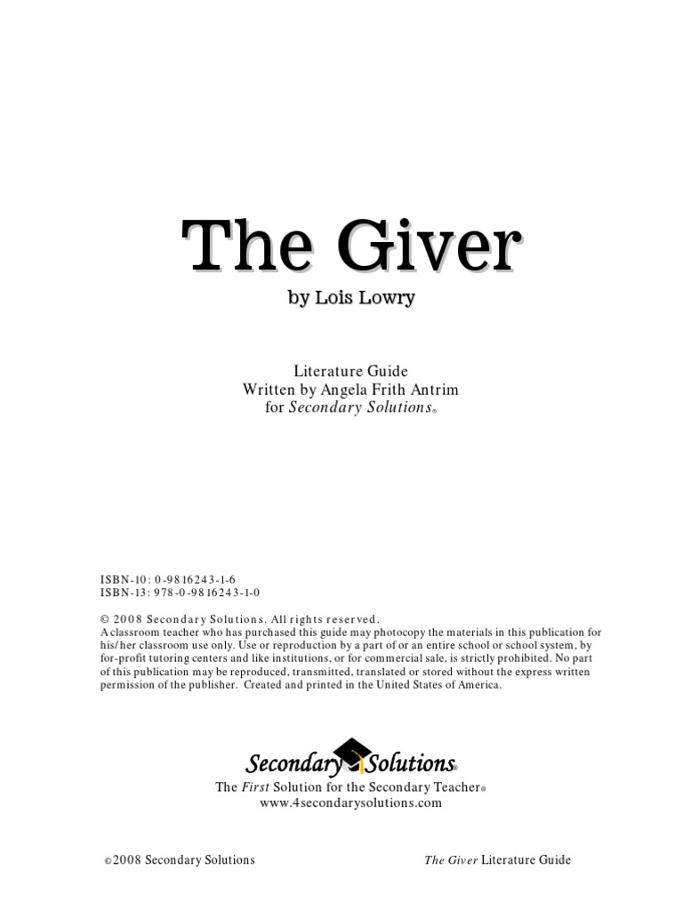 thegiver teaching guide by secondary solutions dystopia fantasy rh scribd com Tertiary Source Primary Literature
