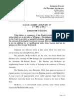 Judgment Summary - Marsh v Baxter (CIV 1561 of 2012) (S. Ct. Western Australia 28 May 2014