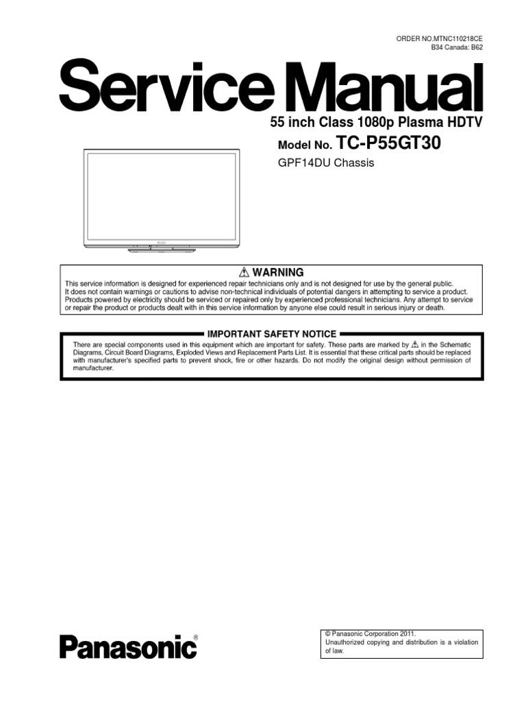 panasonic gpf14du tc p55gt30 service manual electrostatic rh scribd com panasonic viera repair manual panasonic plasma tv repair manual