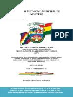 Gobierno Autónomo Municipal de Montero. Documento Base de Contratación, médico general, personal de apoyo para la supervición de obras