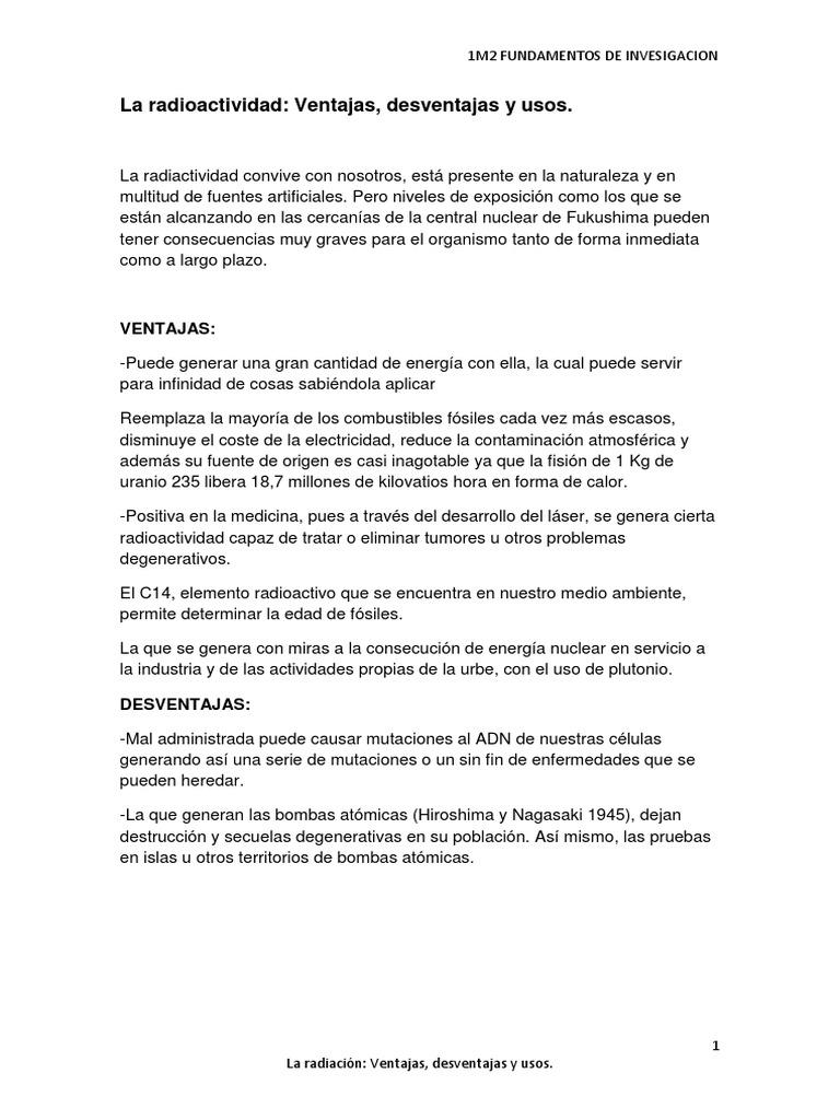 La radioactividad ventajas desventajas y usos urtaz Image collections