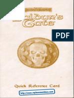 Baldur's Gate I - Forgotten Realms [Quick Reference Card]