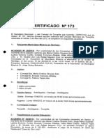 Certificado Concejo N 173 de Abril 2012