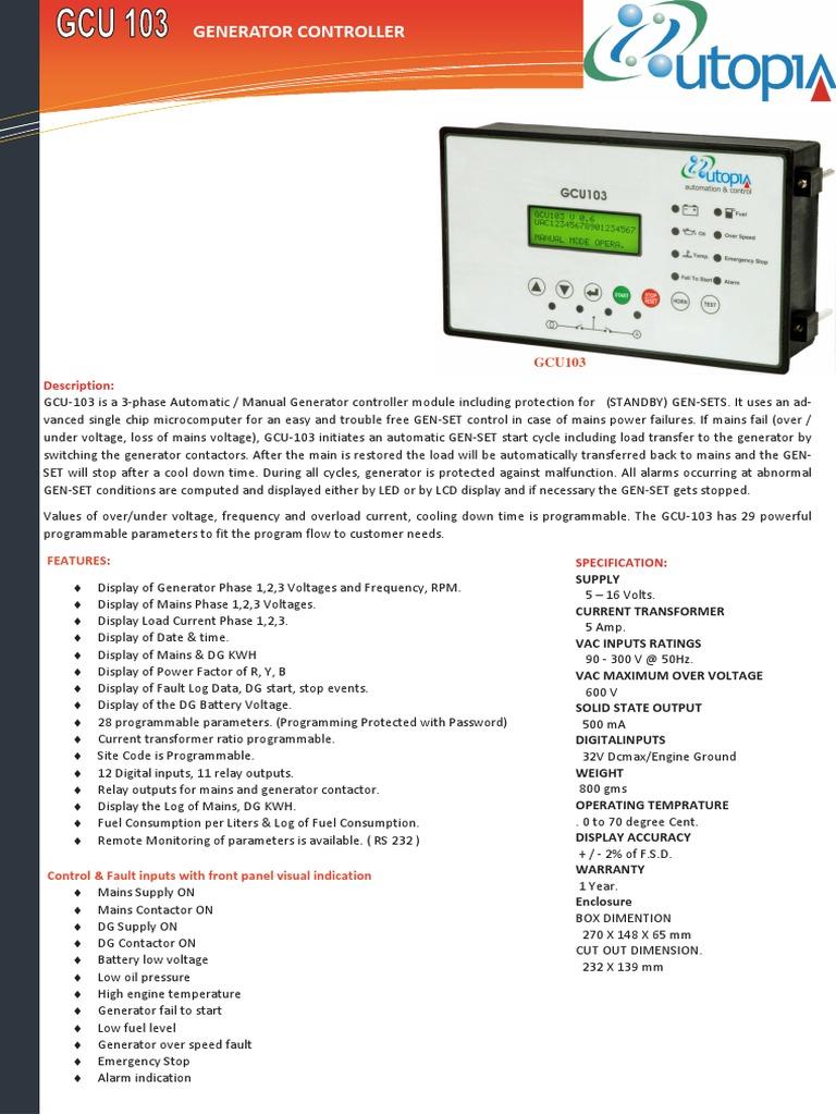 gcu103 | Mains Electricity | Relay