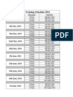 Summer Training Schedule