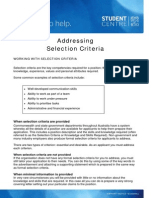 Addressing Selection Criteria