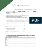 Prueba de Matematicas Septimos Basicos Algebra y Lenguaje Algebraico