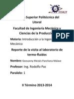 Reporde Visita al Laboratorio de Termofluidos - Introducción a La Ing. Mecánica - ESPOL