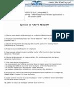 امتحان ماجستير في الالكترونيك من جامعة سيدي بلعباس 2008 مادة Haute Tension