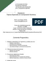 1 Topicos Especiales en Computacion Numerica - Introduccion