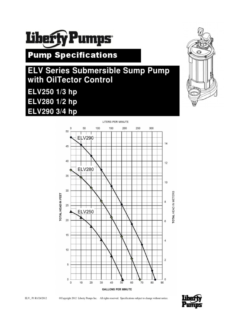 Pump Specifications Elv Series Submersible Sump Pump With