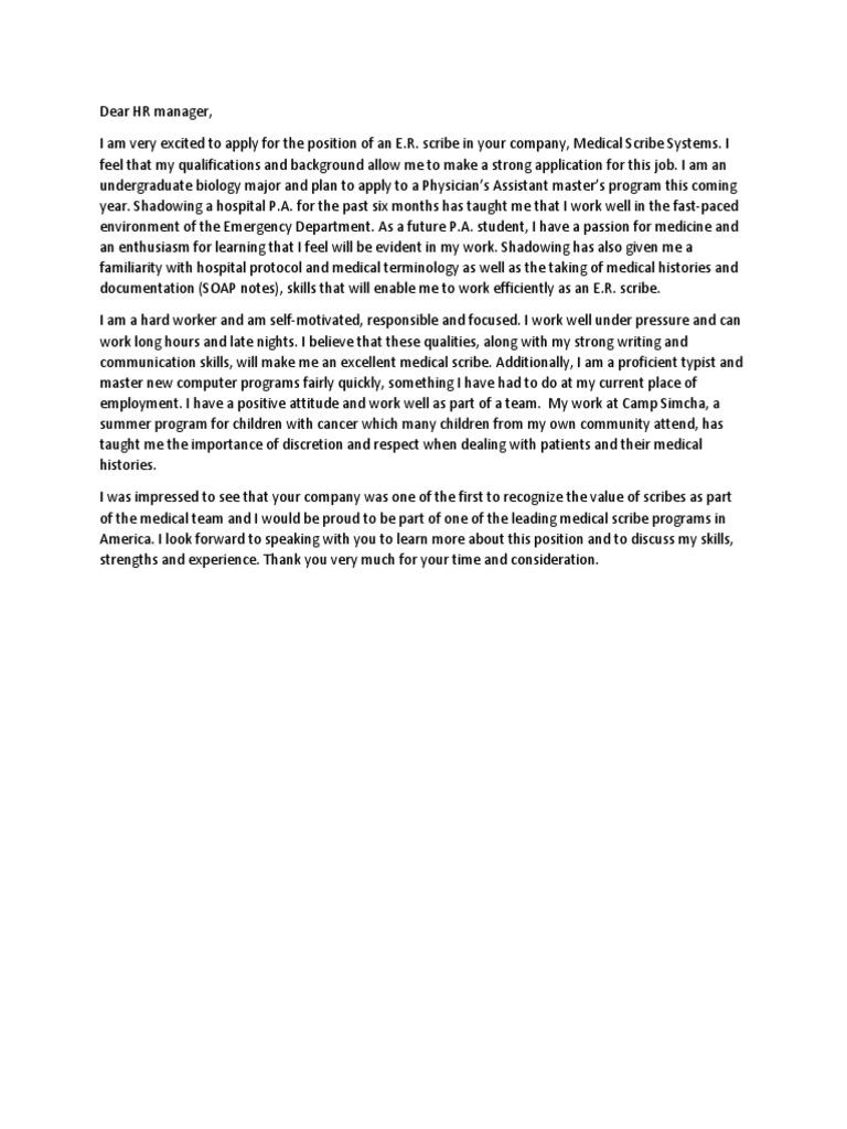 cover letter fancy medical scribe - Medical Scribe Cover Letter