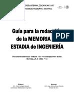 Guía Para La Redacción de La MEMORIA de Estadías - InGENIERÍA