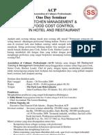 ACP SEMINAR NOV 09-Kitchen Management & Food Cost Control