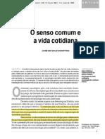 Jose Souza Martins Senso Comum Vida Cotidiana