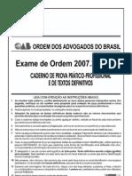 Exame OAB 2007-3 Prova Prático Profissional - Direito Civil e Direito Processual Civil