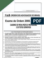 Exame OAB 2008-1 Prova Prático Profissional - Direito do Trabalho e Direito Processual do Trabalho