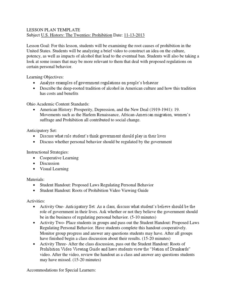 American History Lesson Plan Prohibition Prohibition Lesson Plan - History lesson plan template