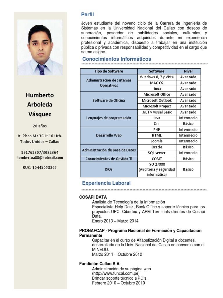 Único Resume El Ingeniero De Soporte Técnico De Formato Patrón ...