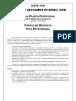 Exame OAB 2009-2 Prova Prático Profissional - Direito do Trabalho - Padrão Resposta