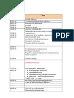 calendarizacion para la pagina word