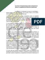 Declaración Pública Crecer Comunicaciones Sobre La Situación de Nuestros Compañeros y Compañeras de Dirección Audiovisual