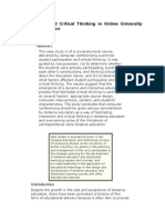 Participation and Critical Thinking in Online University Distance Education