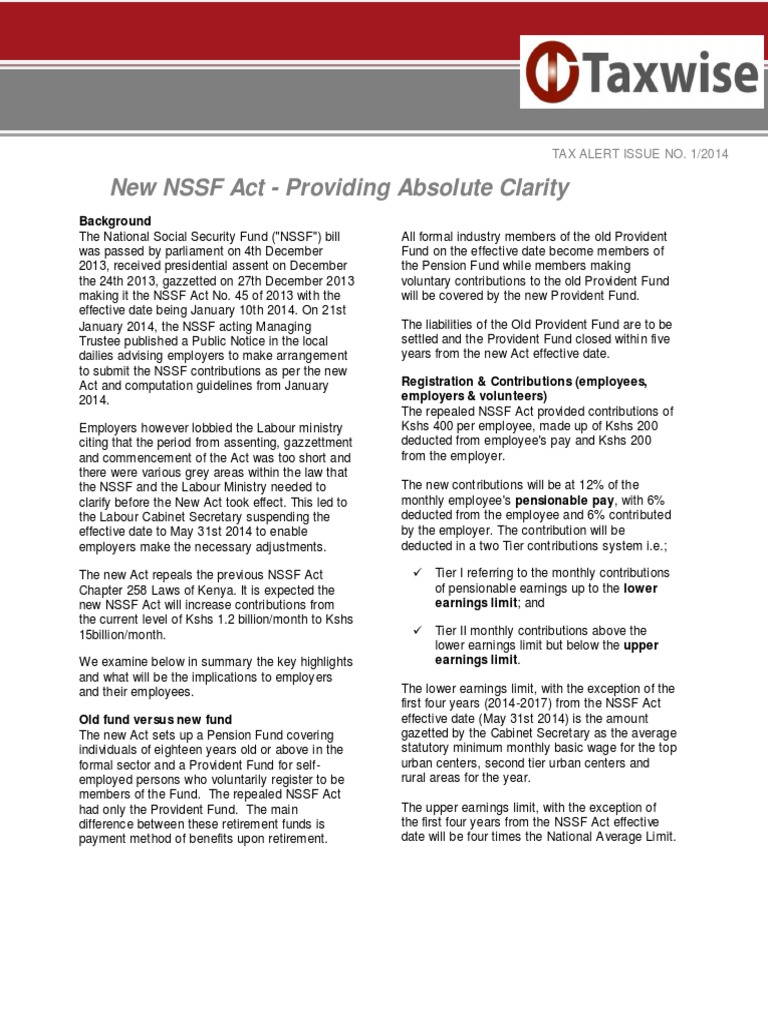 NSSF Act | Pension | Social Security (United States)