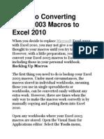 Convert Excel 2003 Macros to Excel 2010