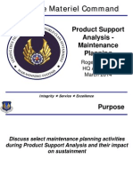 Product Support Analysis - Maintenance Planning