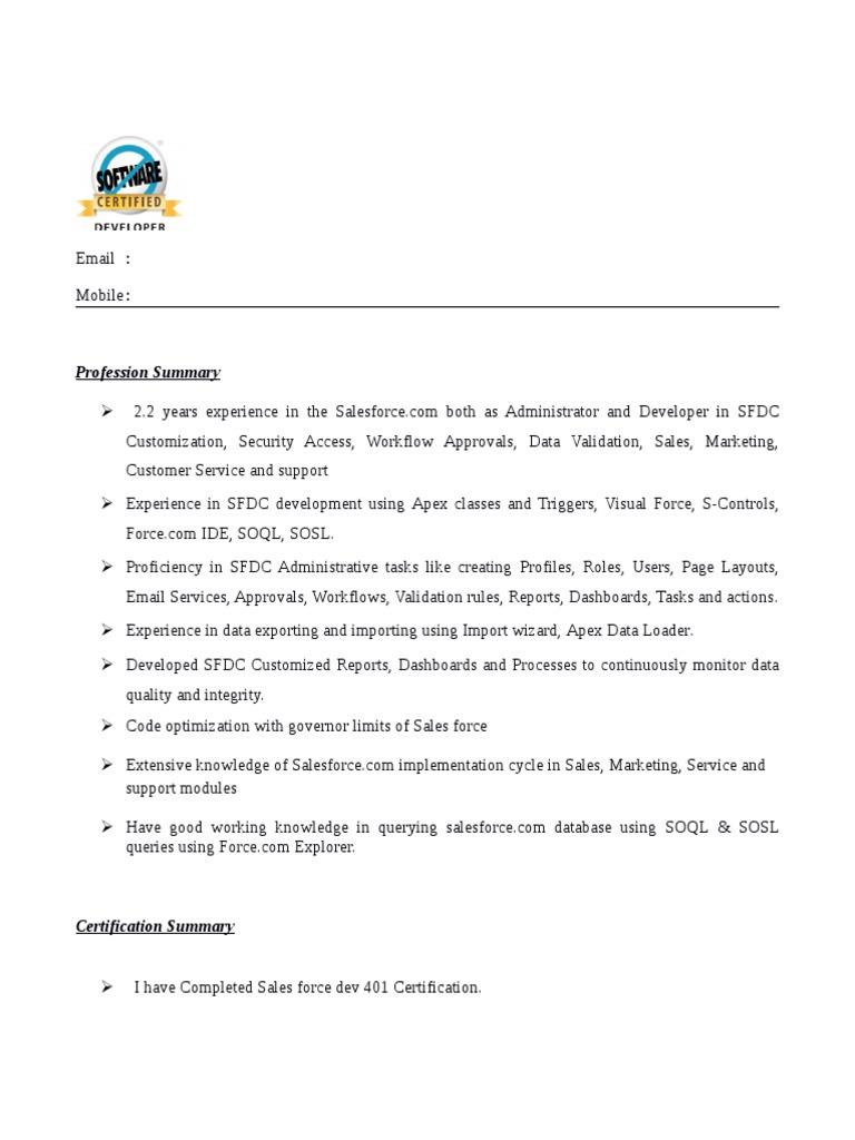 Experienced Salesforce developer resume | Salesforce.Com | Databases