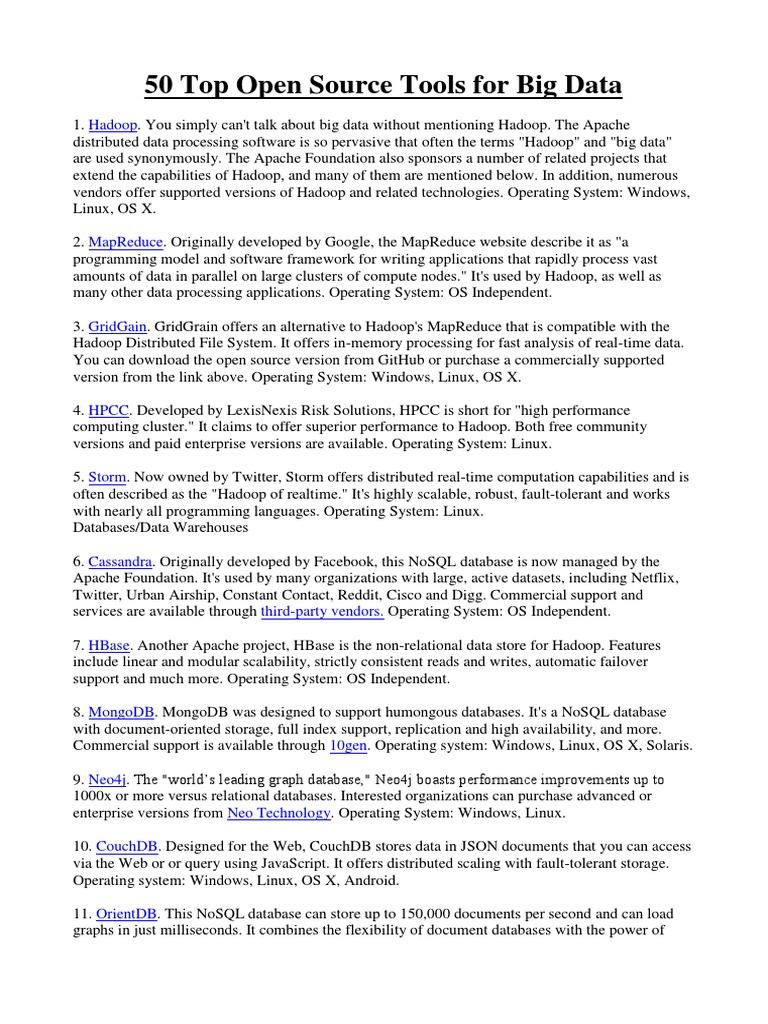 50 Top Open Source Tools for Big Data | Apache Hadoop | No Sql