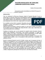 Resolución de la Comisión Ejecutiva Local del PSOE Coslada