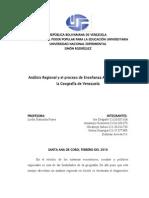Analisis Regional Metodos y Tecnicas Para La Enseñanza de La Geografia de Venezuela