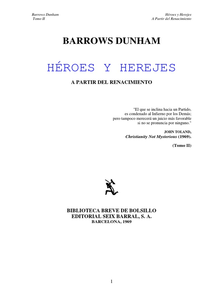 Barrows, Dunham - Heroes Y Herejes a Partir Del Renacimiento - Tomo II