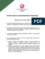 Pautas para envío de trabajos a Revista Digital de Estudiantes de Psicología