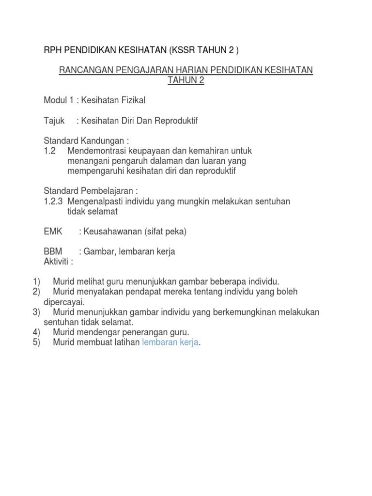 Rph Pendidikan Kesihatan Kssr Tahun 2