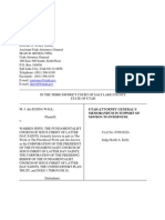 Memorandum by Utah Attorney General Sean Reyes to intervene in Elissa Wall's lawsuit against Warren Jeffs