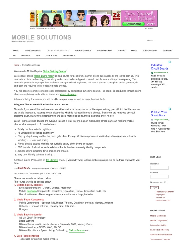 Online Mobile Repair Course Phones Electronic Component In Circuit Do Gsm Cdma Solution