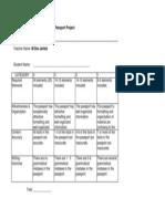 passport project rubric