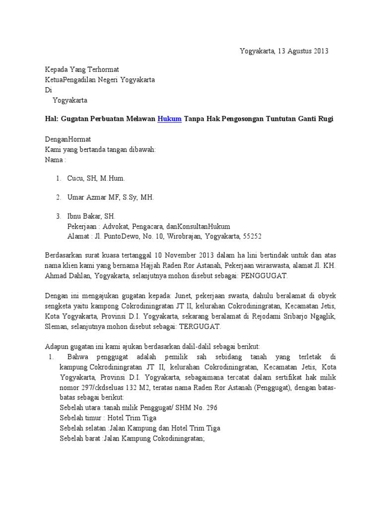 contoh surat gugatan perbuatan melawan hukum