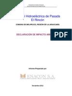 DIA Central Hidroelectrica El Rincon
