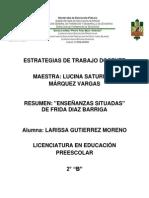 Resumen Enseñanzas Situadas de Frida Diaz Barriga